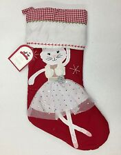 NEW Pottery Barn KIDS Dancing Kitty Ballerina Quilted Christmas Stocking-NO MONO
