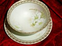 R S Germany Blue Mark Footed Mayonnaise Bowl Dish w/Underplate White Floral