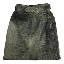 Atelier Womens Skirt Size 12  Grey Acid Wash Leather Pencil Belt Vintage