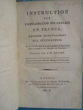 INSTRUCTION SUR L'AMELIORATION DES CHEVAUX / TRAITE DES HARAS, 1802/1807. Rare