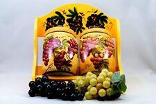Tuscany Grape Ceramic Set of 2 Jars with Wooden Rack