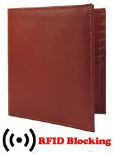 RFID Signal Blocking Burgundy Mens Wallet Cow Leather European Hipster Large
