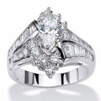 Elegant Women 925 Silver White Topaz Ring Wedding Engagement Anniversary Sz 6-10