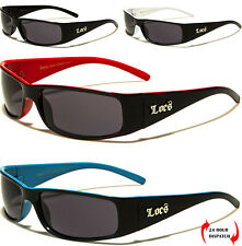 Mens Women LOCS Sunglasses Sports Gangster Rap Biker Dark Black Shades UV400