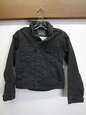 EUC Levi's Black Jean Jacket Denim Hood in Collar Commuter Youth S Small stretch