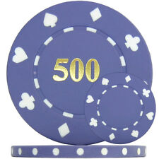 500 x Suited Numbered Poker Chips - Purple '500' Single Sided Foil Print - 11.5g