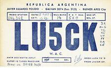 Old QSL from Javier Eduardo Poledo LU5CK Galvan, Buenos Aires Argentina 15/8/67