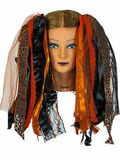 Dreadful Falls Orange & Black Halloween Ribbon Gothic Fairy Hair Falls Extension