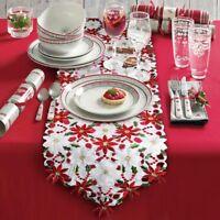 Christmas Embroidered Table Runner Luxury Holly Poinsettia Table Runner Decor