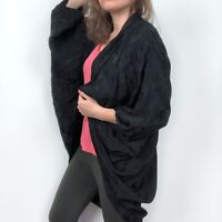 A New Day Black Floral Etching Brocade Kimono Women's One Size Fits Most