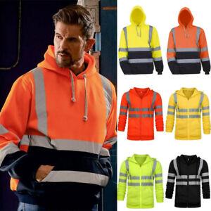 Men Hi Vis Viz V-Neck Reflective Coats Visibility Fleece Work Hoodie Jacket UK