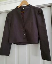 Vintage Peabody House International Wool Bolero Jacket Pinstripe Black Sz. 13/14