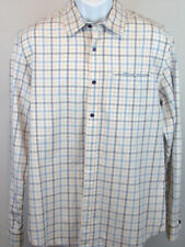 Carbon2cobalt Men's Medium White Multicolor Check Long Sleeve Casual Button Down
