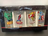 SET OF 4 2010 MARVEL Glasses Cap American Hulk Spider Man Iron Man 14 Oz A1