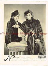 Original 1938 Bergdorf Goodman Fur Mink Coats 14 inch Paper Ad