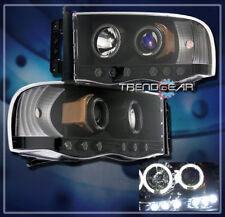 2002-2005 DODGE RAM 1500/2003-2005 2500 3500 HALO LED PROJECTOR HEADLIGHTS BLACK