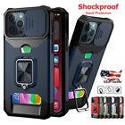 Card Wallet Ring Case For iPhone 13 12 Pro Max 11 XS XR 7 8 SE Slide Camera Lens