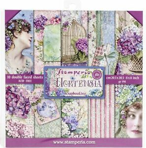 """Stamperia Double-Sided Paper Pad 8""""X8"""" 10/Pkg-Hortensia, 10 Designs/1 Each"""