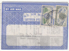 New Zealand: GVI Airmail Letter Card, The Stamp Shop, Christchurch-Cardiff, 1947