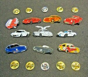 Pin Badge Collection of 10 Sports Cars Red Blue White Black Yellow Muscle Cars