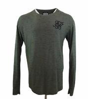 Sik Silk Green Jumper Curved Hem Crew Neck Thin Knit Sweatshirt Sz XL Mens