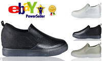 New Womens Ladies High Wedge Diamante Slip on Trainers Sneakers Boots Size Shoes