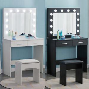 LED Schminktisch Frisiertisch Kosmetiktisch mit Spiegel Hocker - Weiß / Schwarz