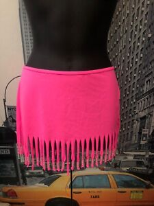 Victoria's Secret Pink Fringed Beaded Swim Beach Cover-Up Skirt. RARE!!!!!💕