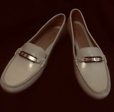Michael Kors Nadia ECRU Patent Leather Slip On Loafers Size 8M