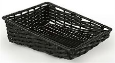 "12"" Rectangular Woven Fruit Basket w/ Tapered Sides - Black 10 pieces"