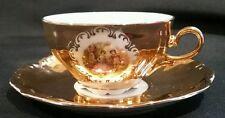 Vintage Euro Porcelaine France Tea Cup & Saucer 22kt Gold Lovers