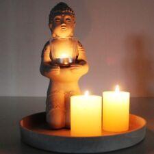ASIEN Buddha Teelichthalter Dekoteller steinoptik Windlicht Teelicht ü2ü308+