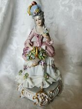 "RARE Vintage Italian Dresden Lace Lady Figurine 9"" OUTSTANDING Condition"