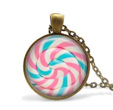 Candy, Cotton Candy, Lollipop Necklace Glass Cabochon Bronze chain Necklace