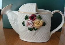 COLLECTIBLE BY HERMITAGE POTTERY WATERING CAN DECORATION  WITH A FLORAL DISPLAY