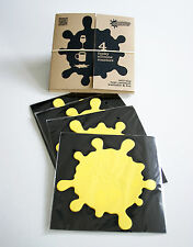 Set of 4 Coasters CONTEMPORARY FUNKY YELLOW SPLATS & Storage Box - Gift, Novelty