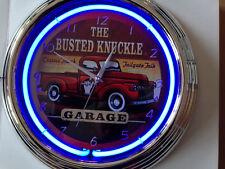 Busted Knuckle GARAGE Neon Wanduhr Neonuhr sign clock Uhr Neonclock news