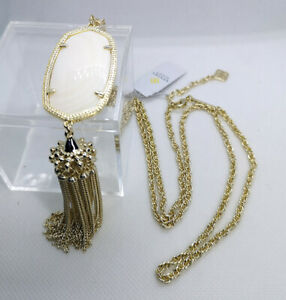 New Kendra Scott Rayne Long Pendant Necklace In White Pearl / Gold