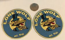 "2-LONE WOLF Vintage Embroidered Iron On PATCH Rat Rod , Hot Rod, Racing 3""x3"""