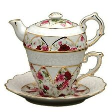 Gracie China  Floral Rose 4 Piece Porcelain Tea for One Stacked Teapot