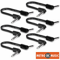 """6-Pack Hosa 6 inch Flat Patch Pedal Cable 1/4"""" Nickel Right-Angle Low Profile"""