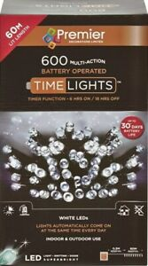 Premier 600 LED Multi-Action Battery Operated Christmas Tree Lights Timer WHITE