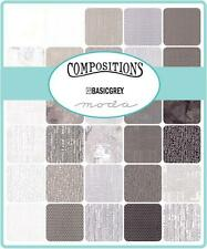 "Moda Charm Pack ~  Compositions ~ Basicgrey ~   5"" x 5"" Squares~100% Cotton"