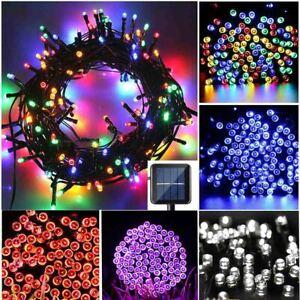 100 LED Solar Powered String Fairy Lights Outdoor Garden Wedding Party Xmas