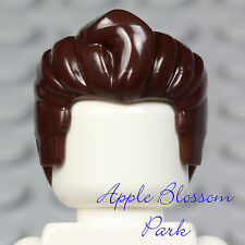 NEW Lego Male Minifig Dark BROWN HAIR - Slicked Back Style Minifigure Head Gear