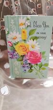 Vintage lace and flowers Birthday card, May God Bless You On Your Birthday bible