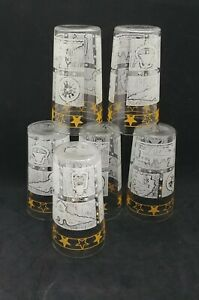"""Vintage Mid Century 5"""" Glass Tumblers Drinking Glasses American Patriotic Yellow"""