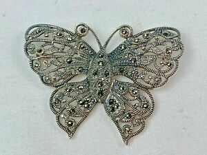 Sparkling Butterfly Pin in Sterling Silver With Marcasites, Openwork, Signed