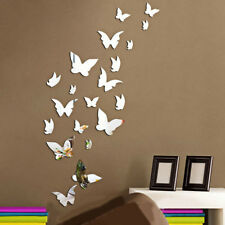 13Pcs Butterfly DIY Modern 3D Mirror Wall Sticker Art Decal Home Decorations UK