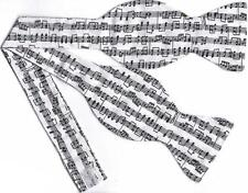 Sheet Music Bow tie / Black Sheet Music on White / Jazz Music / Self-tie Bow tie